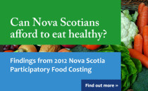 Promo graphic - Can Nova Scotians afford to eat healthy? - Findings from 2012 Nova Scotia Participatory Food Costing