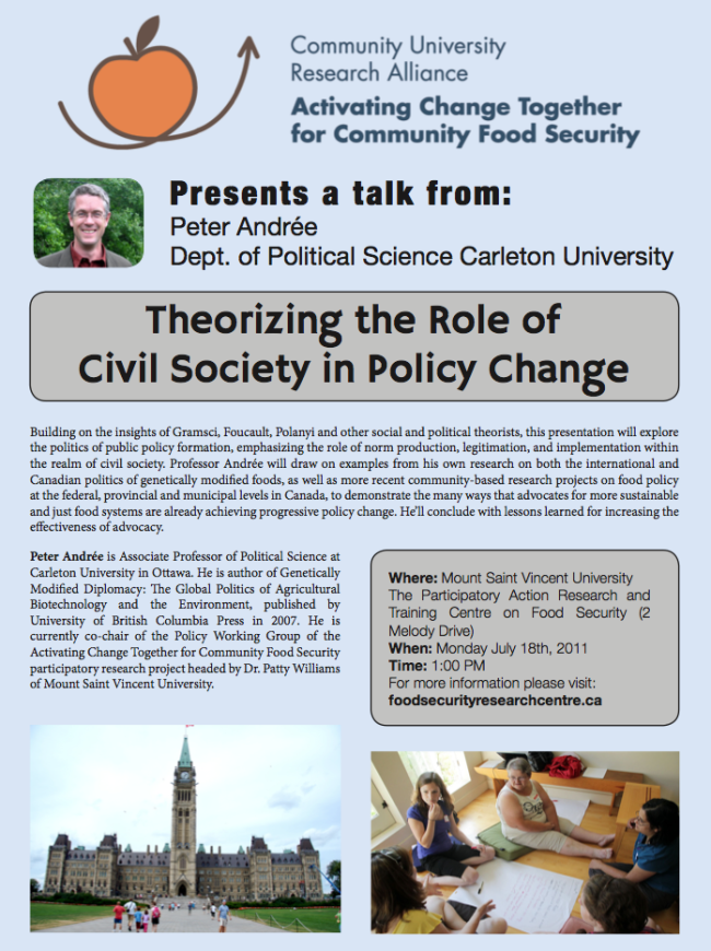 Visiting Scholar Peter Andree - Theorizing The Role Of Civil Society In Policy Change