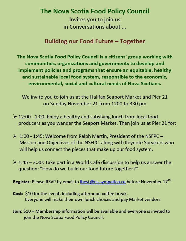 Conversations About Food Policy In Nova Scotia