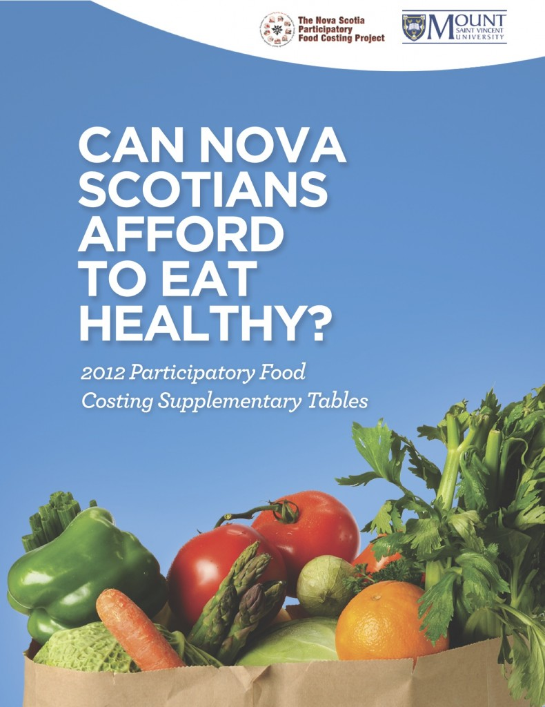 Graphic - Report cover for the supplementary tables for the 2012 Food Costing report