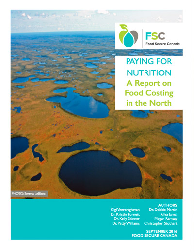 Report Cover - Paying for Nutrition: A Report on Food Costing in the North