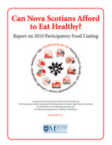 Report cover - Can Nova Scotians Afford to Eat Healthy? Report on 2010 Participatory Food Costing.