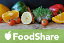 Graphic - FoodShare logo with fruits and vegetables.