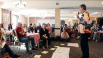 Toke Moeller teaches the Six Breaths during the Art of Hosting training in Halifax, Nova Scotia on September 29, 2011.