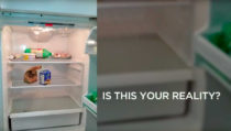Photo of a nearly empty fridge - Is this your reality?
