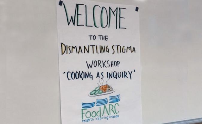Welcome sign for Dismantling Stigma Workshop
